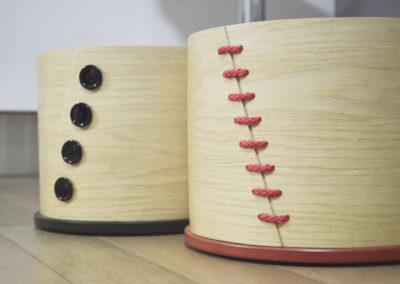 Scatole in frassino piegato con coperchio e fondo tornito